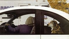 Dog in Car by Alex Colville on Curiator, the world's biggest collaborative art collection. Alex Colville, Canadian Painters, Canadian Artists, Magic Realism, Realism Art, Dog Car, Collaborative Art, Animal Paintings, Figure Painting