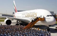 An Emirates A380 aircraft during a hand-over ceremony in Hamburg