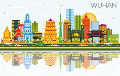 Buy Wuhan China City Skyline with Color Buildings by booblgumpnz on GraphicRiver. Wuhan China City Skyline with Color Buildings, Blue Sky and Reflections. Business Travel and Tou. Buch Design, 3d Design, Building Map, Black And White City, Skyline Silhouette, Usa Cities, City Illustration, China Art, Wuhan