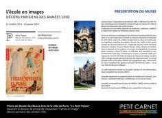 """◙ PHOTOGRAPHIE ◙ Photos du Musée des Beaux-Arts de la ville de Paris, """"Le Petit Palais"""" illustrant le dossier de presse de l'exposition """"L'école en image"""",  décors parisiens des années 1930."""
