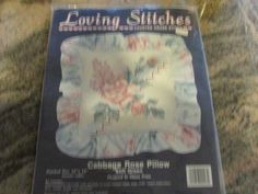 COUNTED CROSS STITCH KIT, NEW, LOVING STITCHES, CABBAGE ROSE PILLOW, SOFT GREEN #KARENSKREATIONS #FLORALPILLOW.  eBay item number:131615816010