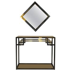 Chrome and Gold-Plated Console Table and Mirror by Belgo Chrom, 1970s | From a unique collection of antique and modern console tables at https://www.1stdibs.com/furniture/tables/console-tables/