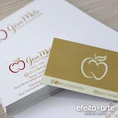 Cartão de Visita Nutricionista Dourado. Orçamentos e pedidos pelo e-mail contato@efeitoearte.com.br