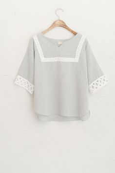 Stitched Cross Sleeve Top, Grey