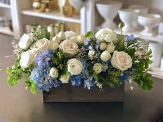 Send the Misty bouquet of flowers from My Blooming Business in Los Angeles, CA. Local fresh flower delivery directly from the florist and never in a box! Blue Hydrangea Centerpieces, Wedding Table Centerpieces, Wedding Decorations, Centerpiece Flowers, Centerpiece Ideas, Flowers Decoration, Wedding Flower Arrangements, Floral Arrangements, Floral Wedding