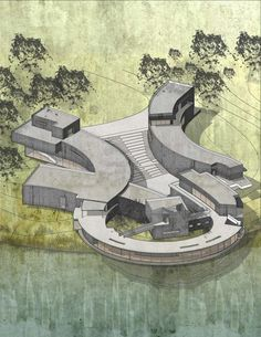 This project is located at the Forest Park in St Louis The configuration of the building formed with beautiful curve which changing with the topography and also response to the surrounding environment The main observation area of this building is - a Villa Architecture, Concept Models Architecture, Water Architecture, Architecture Concept Diagram, Futuristic Architecture, Landscape Architecture Model, Classical Architecture, Sustainable Architecture, Curve Building