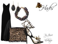 A formal look inspired by the greek god: Hades. Fans of Greek Mythology or the Percy Jackson series would like this look