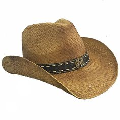 Country Straw Distressed Bendable Shapeable Cowboy Hat W/ Band, Natural Color