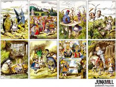 ★★ INSTANT DOWNLOAD ★★    These scenes from Lewis Carrolls classic Alice in Wonderland and Through the Looking Glass, illustrated by John Tenniel, have been professionally restored for bold pops of color and crisp printing. Each image measures 2.5 x 3.5. Sized to print on 8.5 x 11 (size A4) paper.    See all of our Alice in Wonderland collections here: http://etsy.me/1sJ6RM3    INSTANT DOWNLOADS: Once checkout is complete and payment is confirmed, you will have instant access t...