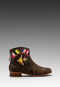 TWELFTH STREET BY CYNTHIA VINCENT Goldie Embroidered Flat Ankle Boot in Brown at Revolve Clothing - Free Shipping!
