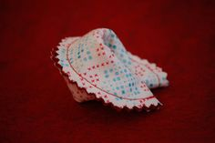 """Fabric Fortune Cookie Tutorial by Lady Harvatine, via Flickr - would make great classroom """"cards"""" for valentines day"""