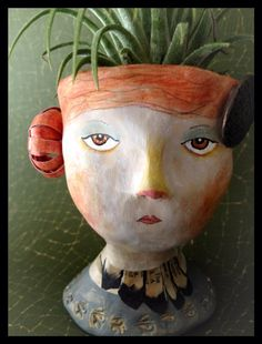 Clementine. Clay Art Head Planter.