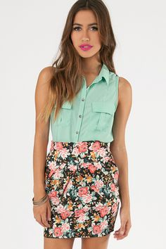 Seafoam top with flower patterned, mid-thigh length skirt