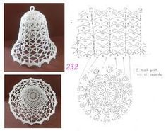 Schémy na zvončeky :-) - Her Crochet Crochet Christmas Decorations, Crochet Decoration, Crochet Ornaments, Christmas Crochet Patterns, Holiday Crochet, Crochet Snowflakes, Christmas Knitting, Christmas Crafts, Crochet Chart
