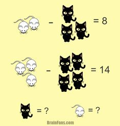 Brain teaser - Number And Math Puzzle - Mouse and cat - Another math puzzle with a mouse and a cat. There are more of them on the picture, you just have to decide how to solve it.