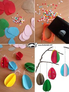 the sharp end of the egg glue the two ends of a piece of thread. The eggs can be decorated with dots Creative Crafts, Diy And Crafts, Crafts For Kids, Paper Child, Construction Paper Crafts, Easy Easter Crafts, 3d Paper, Paper Decorations, Egg Tree