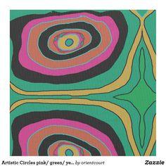 Artistic Circles pink/ green/ yellow/black> Fabric Yellow Black, Pink And Green, Bohemian Fabric, Pigment Ink, Black Fabric, Custom Fabric, Crafts To Make, Circles