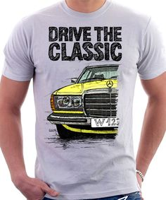 Clasic Retro Mercedes W123 T-shirt weiß. Original hand