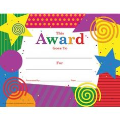 General Award Certificate- Chunky Collage! 30/pack  Downloadable templates available to personalize or can be handwritten. Kids Awards, Student Awards, Certificate Of Recognition Template, Certificate Templates, Award Certificates, Writing Activities, Kids Church, Microsoft Word, Sunday School