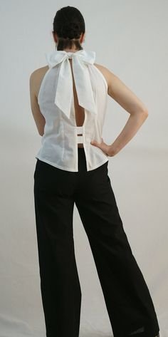 Sleeveless Bow Back Top with Open Back in Crisp by GreenLinebyK, $68.00>> https://www.etsy.com/listing/121690144/sleeveless-bow-back-top-with-open-back