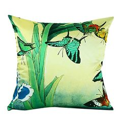 Country Butterfly Silk Decorative Pillow Cover – USD $ 14.99