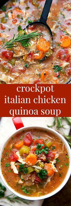SUPER simple slow cooker (dump it and forget it!) Italian Chicken, Quinoa, and Vegetable Soup NOTE : Mauvaise idée de mettre le Quinoa directement dans le slow cooker. Il devient gluant. A ré-essayer sans.