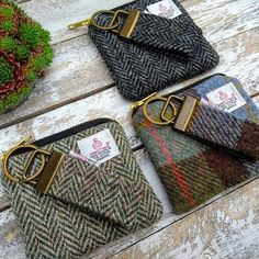 Harris Tweed Gifts Handmade bags Unique Designs by TheCrimsonCoo Tartan Crafts, Harris Tweed Fabric, Plaid Purse, Cowhide Bag, Scottish Gifts, Unique Handbags, Small Sewing Projects, Patchwork Bags, Zipper Bags