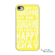 You Are My Sunshine Yellow White iPhone Case  by artstudio54, $20.00