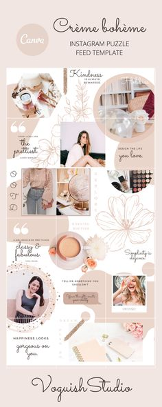 Peachy Instagram Puzzle Feed Canva Template | Instagram Feed | Instagram Grid | Blogger | Collage
