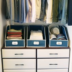 Fall back in love with your closet with our Sweater Bins by GUS. Neatly stack sweaters, t-shirts, jeans, linens and towels in our multifunctional premier storage bins. Durable and attractive, our storage bins make it easy to keep your closet org. Closet Storage Bins, Closet Shelves, Smart Storage, Dresser In Closet, Ikea Closet, Shelf Bins, Office Organization, Organizing Ideas, Pullover