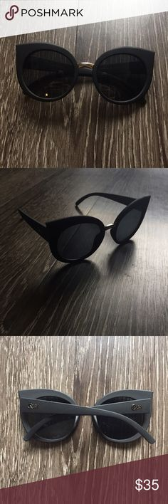 Quay Australia matte black cat eye sunnies Brand new with no tags (purchase did not come with any). Includes slip case! Quay Australia Accessories Sunglasses
