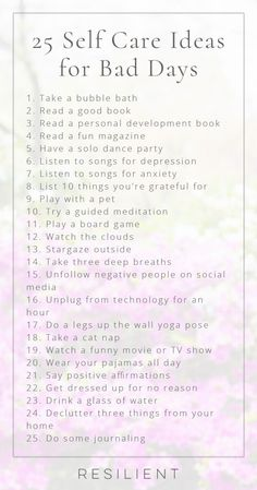 When bad days strike, it's nice to have a list of self care ideas you can pull o. - When bad days strike, it's nice to have a list of self care ideas you can pull o. When bad days strike, it's nice to have a list of self care ideas . Songs For Anxiety, Self Help For Anxiety, Motivation, Depressing Songs, Personal Development Books, Self Care Routine, Gym Routine, Daily Routines, Stress Management