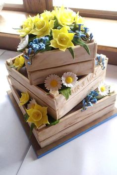 Spring Flowers Wedding Cake » Coocakecachoo ... looks like three crates with daffodils, daisies, etc.