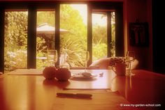 Sat in John Brookes' (MBE) kitchen - where he wrote his famous #gardening book 'The Room Outside'.  You can see what he means here. If you want to learn garden design directly from John you can book his online course here every four weeks.  You get tuition from John himself.  http://www.my-garden-school.com/course/garden-design-with-john-brookes/