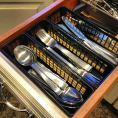 drawers too narrow for a typical (& ugly, in my opinion) silverware tray? have no fear...scoop ya up a 3 pack of pencil/pen baskets for $1.35 and store your silverware horizontally!!! cha-ching #housewifestatus #reallife #myhome