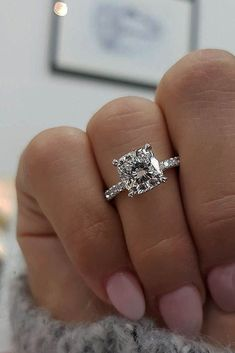 24 TOP Engagement Ring Ideas ❤️ top engagement ring ideas cushion cut diamond pave band white gold #ringly