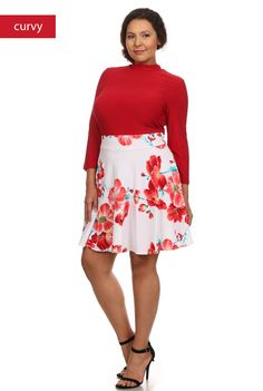 'Spring Fling' Dress - With spring right around the corner, this dress is the perfect transition! With 3/4 sleeves, this fit and flare dress has a mock turtleneck and a solid red solid bodice. Cinched at the waist, the dress features a contrast white and red floral print skirt. Swirl around and show off your legs and the sexy back keyhole cutout! Available in Red/White. 95%Polyester and 5%Spandex. Made in the USA. Size: 1XL, 2XL, 3XL.