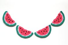 Crochet Watermelon Bunting — One Social Girl Bunting Pattern, Crochet Bunting, Crochet Garland, Crochet Motif, Crochet Yarn, Free Crochet, Crochet Patterns, Crochet Fruit, Earrings