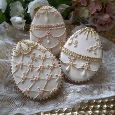 Easter egg cookies in the style of Fabergé; cookie artist, Teri Pringle Wood