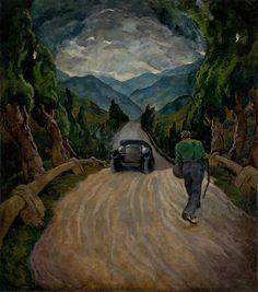 Edmund Gwerk (Slovakian, Cestujúci [Traveling], Oil on canvas, 180 x 161 cm. Oil On Canvas, America, World, Artist, Painting, Traveling, Perspective, Landscapes, Car