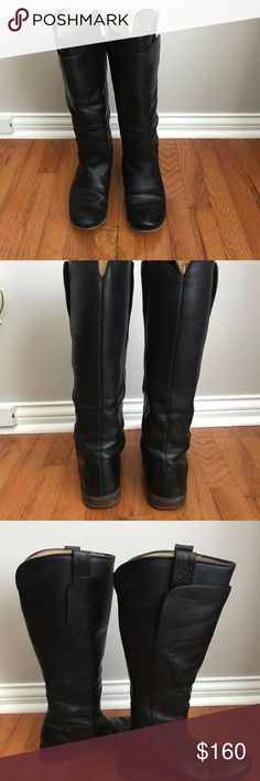 Frye Paige tall boots Frye Paige tall black boots in good used condition. Some scuff on toes from wear. Excellent boot to pull on and off with the outside tabs, I'd keep but I ordered them when I was pregnant and they are to large for me. No box Frye Shoes Winter & Rain Boots
