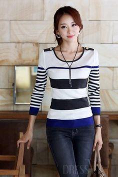 New Soft Slim Round Neckline Knit Striped Sweater