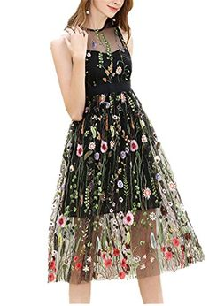 122116cd7c3 Women Floral Embroidery Sleeveless Mid Dresses Bohemian G... Party Dresses  For Women