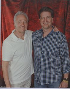 Brent Spiner (Data from Star Trek The Next Generation) giving me my $40 worth  (hey...Shatner got $100 for his signature!) in this photo op at the Las Vegas Star Trek Convention 2013. He was a fun guy and I loved his dry wit. I gave him a copy of my book for his son Jackson (he is 11 years old in 2013). I wonder if he ever gave it to him....his assistant said she'd look it over to make sure it was OK. Do you think it wound up in file 13 or did it perhaps make it to Jackson Spiner?