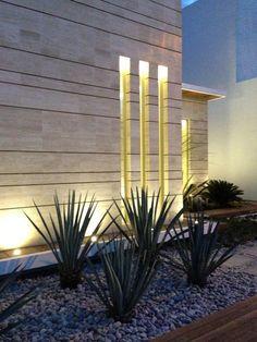 Uplites in ledge Navona House by JI Studio Design Exterior, Facade Design, Modern Exterior, Architecture Design, House Design, Landscape Design, Garden Design, Compound Wall Design, Feature Wall Design