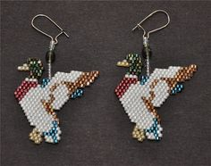Mallard Duck Taking Off Earrings by HandMadeBeadedCrafts on Etsy