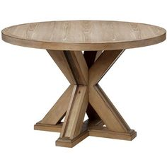 Madison Park Xavier Round Dining Table in Natural - Olliix