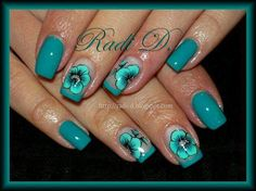 Teal with Teal & Black Flowers