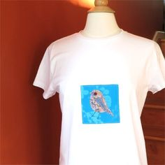such gorgeous fabric - a bit of hand-dyed fabric and japanese fabrics, Bird Tshirt womens slim fit white robin applique large by BoosTees, $18.00