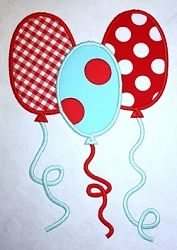 Balloons Applique - 3 Sizes! | Birthday | Machine Embroidery Designs | SWAKembroidery.com Applique Cafe
